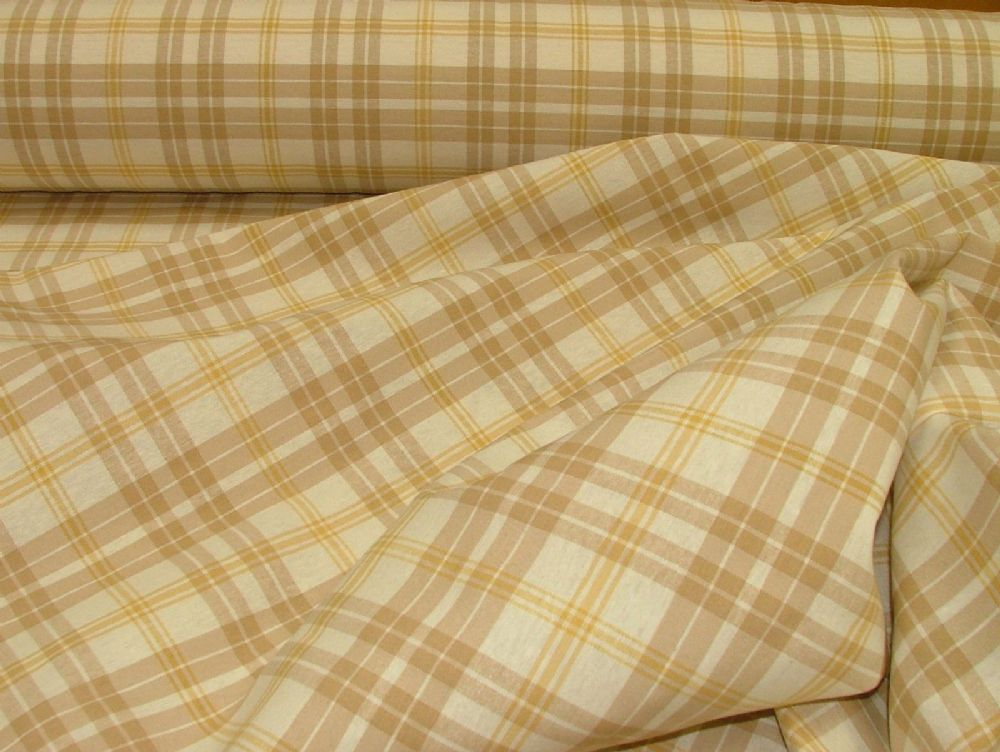 Prestigious Textiles Beige Gold Cream Check Curtain Soft